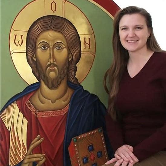 Renata with Icon of Christ the Teacher