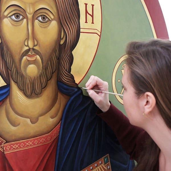 Detail-of-Christ-theTeacher-Renata-Grzan-Wieczorek painting square